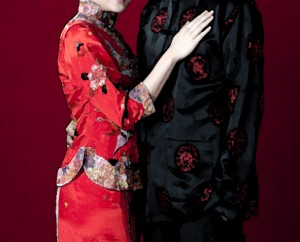 couple in traditional Chinese wedding clothing